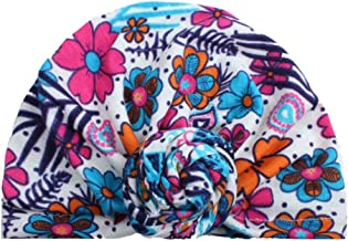 SUNBIBE Baby Girls Flower Cotton Soft Kids Knot Turban Hat Beanies Cap