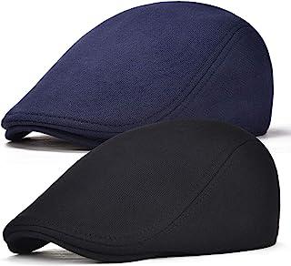 FEINION 2 Pack Men Cotton Newsboy Cap Soft Fit Cabbie Hat