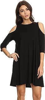 Alexander + David Womens Cold Shoulder Tunic Swing Dress Casual w/Half Sleeve