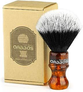Synthetic Badger Shaving Brush with Resin Handle Nylon Bristles Hair Anbbas Lathering Foam Brush for Men Travel Professional Wet Shaving(Amber,Knot: 24 mm)
