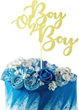 Starsgarden Gold Glitter Boy Oh Boy Cake Topper It's a Boy Cake Topper for Baby Shower,Gender Reveal, It's a Prince, Baby Birthday Party Decorations Supplies Gold Glitter (Gold Boy)