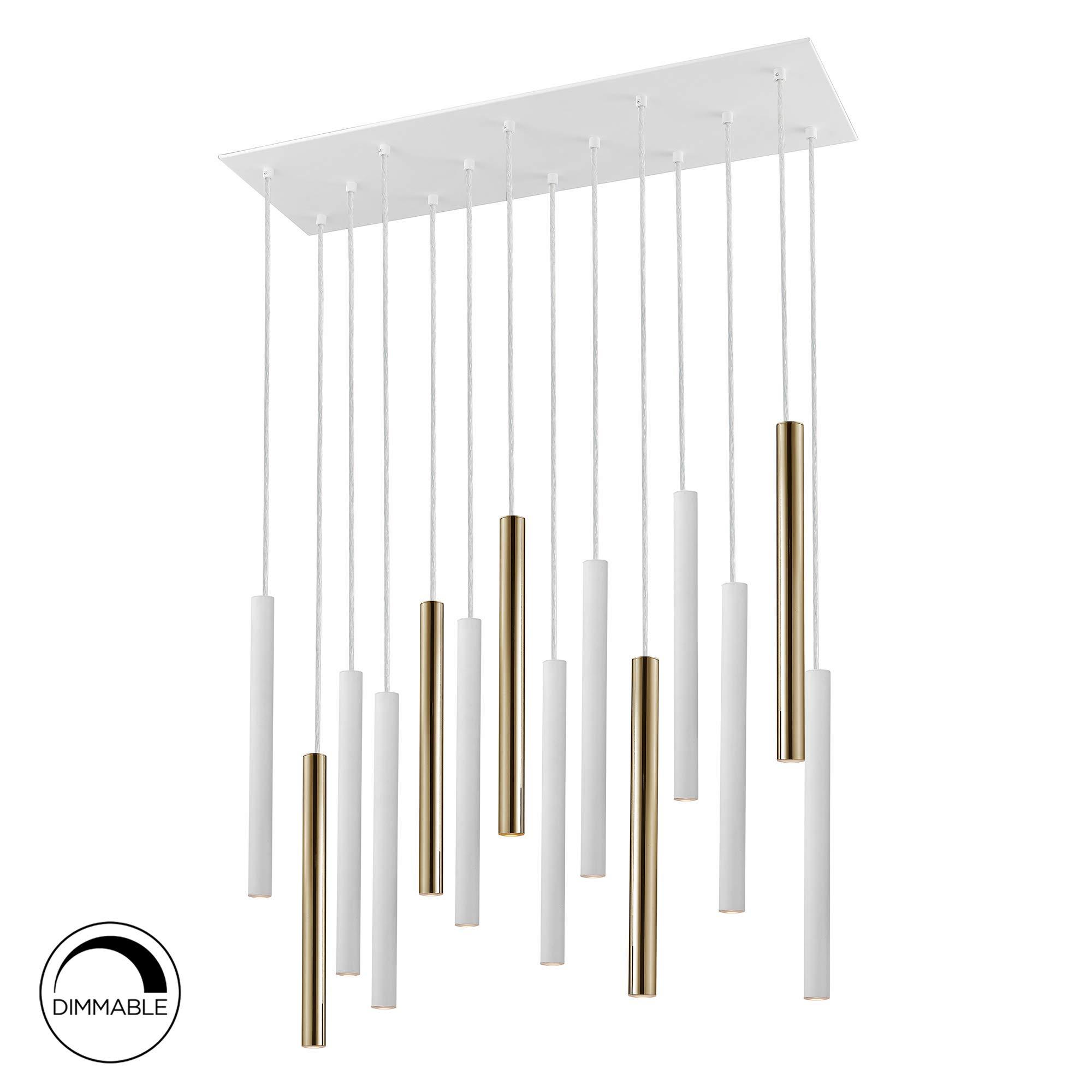 Lámpara SCHULLER VARAS de 14 luces LED. Realizada en metal acabado oro brillo y blanco mate. Difusor acrílico opal. 70W LED, 6.300 lm, 3.000 K. DIMABLE: Amazon.es: Iluminación