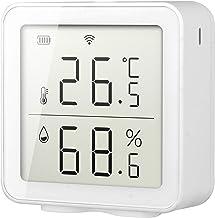 Sensor de humedad de temperatura inteligente WiFi, compatible con Alexa y Google Assistant, inalámbrico con monitor de pantalla LCD, termómetro de interior higrómetro, no necesita concentrador