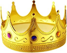 Tytroy Royal King Gold Jeweled Plastic Dress Up Crown Costume Accessory