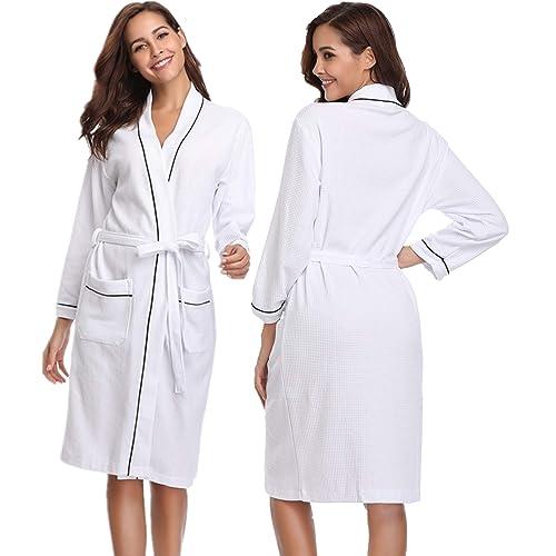 Vlazom Unisex Waffle Dressing Gown Pure Cotton Lightweight Bath Robe for  Spa Hotel Sleepwear with All b57263c8b