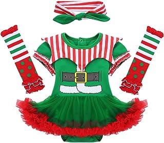 dPois, Disfraz de Elfo Navidad para Bebé Niña Recién Nacido Mameluco con Falda Tutú Vestido de Fiesta Cosplay Manga Corta Ropa Navideña Conjunto Infantil