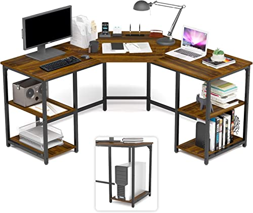 wholesale Elephance Large L-Shaped Desk with Shelves, Computer Corner Desk, Home Office Writing Workstation, Gaming Desk PC high quality Laptop Table high quality with Storage online sale