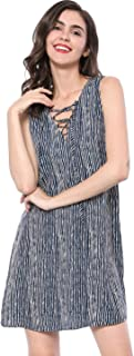 Allegra K Women's Striped Lace Up Front Sleeveless Summer Swing Tank Dress