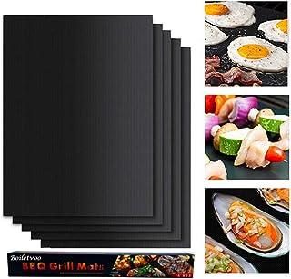LENNI Lot de 5 tapis de cuisson antiadhésifs réutilisables pour barbecue au charbon, au gaz ou électrique - Faciles à nett...