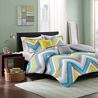 Intelligent Design Elise Full/Queen Blue, Yellow, Grey, Cheveron – 5 Piece Teen Set – Peach Skin Fabric Bed Comforter