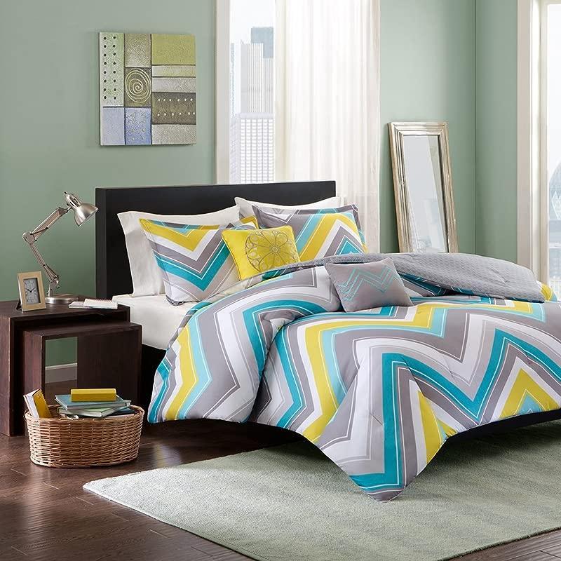 Intelligent Design Elise Full Queen Blue Yellow Grey Cheveron 5 Piece Teen Set Peach Skin Fabric Bed Comforter