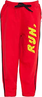 American-Elm Boys Red Cotton Yellow Run Printed Regular Fit Track Pant