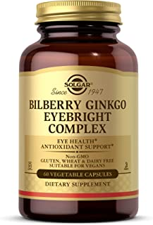 Solgar Bilberry Ginkgo Eyebright Complex, 60 Vegetable Capsules - Eye Health, Antioxidant Support - With Vitamins A, C & E...
