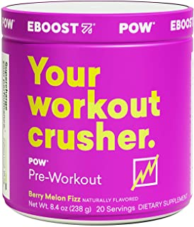 EBOOST POW Natural Pre-Workout – 20 Servings - Berry Melon Fizz - A Pre Workout Supplement for Performance, Joint Mobility...