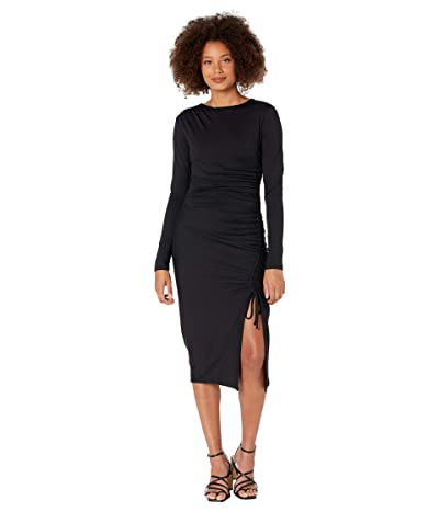 Susana Monaco Gathered One Shoulder Long Sleeve Dress (Black) Women