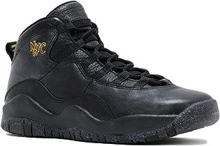 Nike Kids' Air 10 Retro Black Leather Basketball Shoe 5