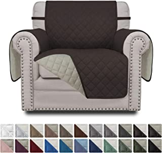 Easy-Going Sofa Slipcover Reversible Chair Cover Water Resistant Couch Cover Furniture Protector with Elastic Straps for Pets Kids Children Dog Cat(Chair,Chocolate/Beige)
