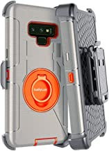 Dailylux Galaxy Note 9 Case,Note 9 Case Belt Clip Heavy Duty Shockproof Swivel Belt Clip Rugged Bumper Hybrid with Kickstand Holster Protective Cover for Samsung Galaxy Note 9,Orange+Grey