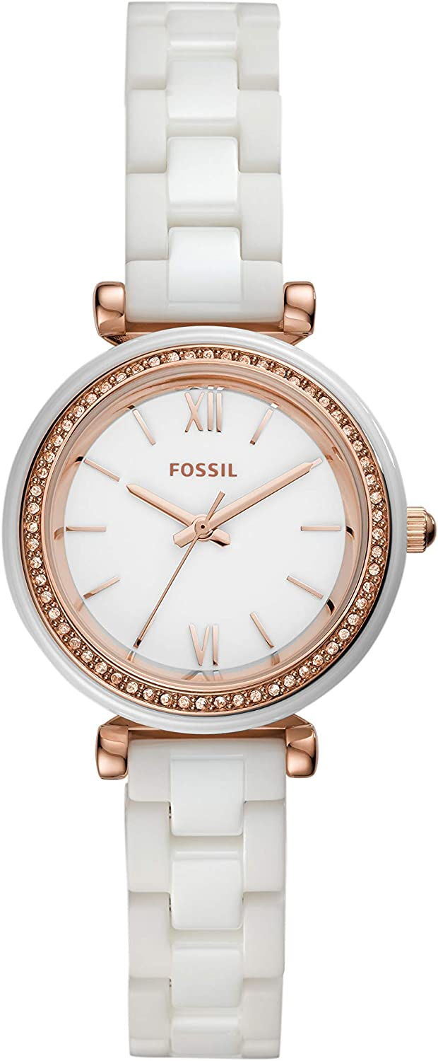 Fossil Women's Carlie gift Mini Stainless Ceramic and Casual Qu Sales Steel