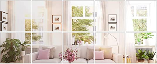 BBTO 10 Pieces Mirror Sheets Self Adhesive Non Glass Mirror Tiles Wall Sticky Mirror (8 x 8 Inch)