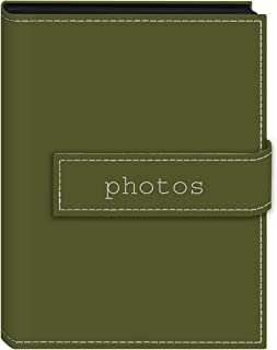 "Pioneer Photo Albums 36-Pocket 5 by 7-Inch Embroidered ""Photos"" Strap Sewn Leatherette Cover Photo Album, Mini, Sage Green"