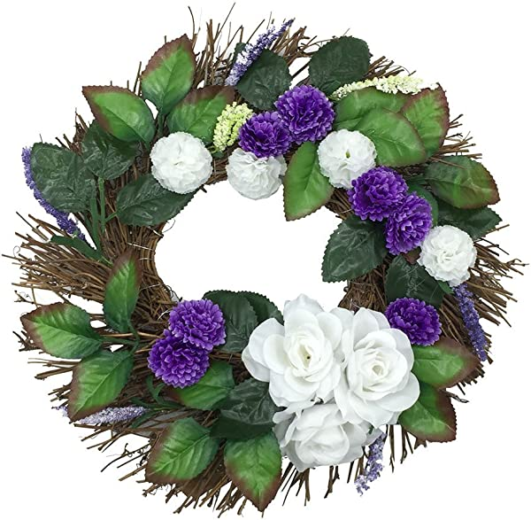 Icocol Decorative Front Door Wreath 12 Inch Year Round Beautiful White Rose Wreath Garland Window Door Decorations Ornament Handcrafted With Care Storage Box Included