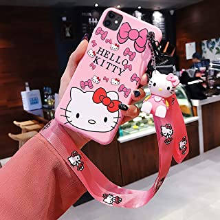iPhone 11 Case Hello Kitty Phone Case Cartoon Silicone Soft Cover Set with 2 Lanyard and Phone Stand Doll for iPhone 11 6.1