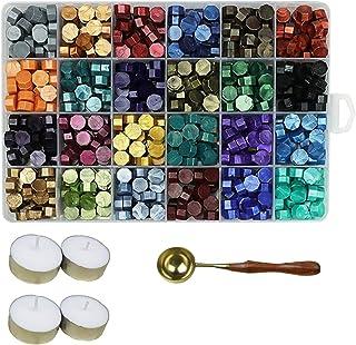 Aiboria Lot de 600 perles de cire à cacheter vintage multicolores avec bougies chauffe-plat et cuillère à cire pour sceau ...
