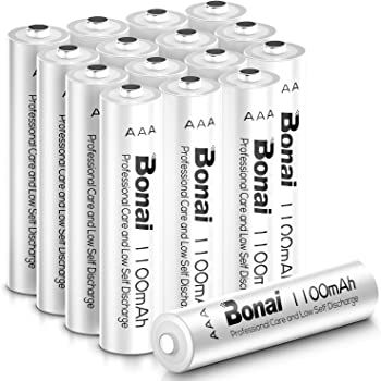 BONAI 1100mAh AAA Rechargeable Batteries 1.2V Ni-MH High-Capacity Batteries AAA 16 Pack - AAA for Garden Lights