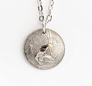 Canada Quarter Necklace Domed Coin Commemorative Olympic Skiing Pendant Frosted Texture Vancouver 2010