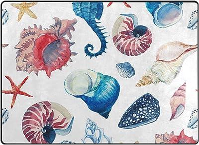 Tapis de Sol Tapis de Sol paillassons Tapis Aquarelle Motif Marin Coquillages étoile de mer pour Salon Maison Chambre décoratif antidérapant 80 x 58 Pouces
