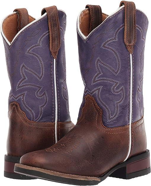 Brown Leather Vamp/Purple Shaft