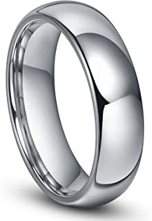 6MM Tungsten Men's Plain Dome Polished Wedding Band Ring Size 4-16