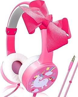 Camlinbo Unicorn Kids Headphones Girls Toddler 85dB Volume Wired Adjustable On Ear Headphones 3.5mm Jack Bowknot Pink Head...
