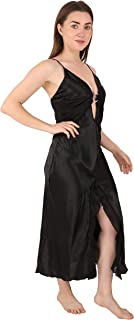 Bondy Lingerie Sexy Satin Nightgown Deep V Neck Sleepwear Nightdress for Women