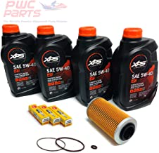 SeaDoo 4-TEC Oil Change Kit ALL 2002+ 4-TEC 130/155/185/215/255/260hp GTX RXT RXP RXP-X RXT-X GTI w/ 4 Quarts XPS 05W40 Oil, 4-TEC Oil Filter, O-Ring Kit, and NGK Spark Plug Set
