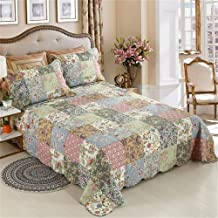 Shufeng 3-Piece Bedspread Blanket Floral Patchwork Quilts Double Soft Cozy Air-Conditioning Quilt Polyester Cotton Mix Col...