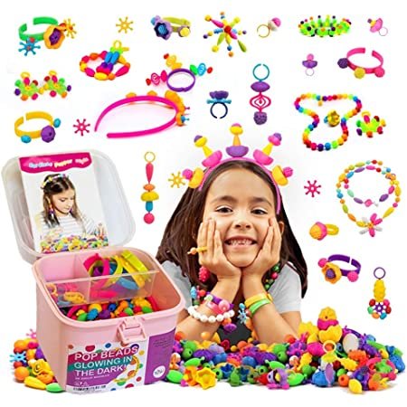 QIAOKUAN Pop Beads 650+PCS Jewelry Making Kit for Kids 3,4,5,6,7,8 Year Old Pop Snap Beads DIY Set Making Hairband,Necklaces,Bracelets,Rings,Earrings,Art/&Crafts Creativity Toys for Toddlers Gifts
