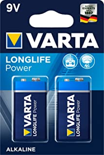 VARTA Longlife Power 9V Block 6LR61 alkaliskt E-Block batteri (2-pack) – tillverkat i Tyskland – perfekt för brandlarm, rö...