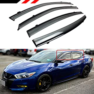 Cuztom Tuning Fits for 2016-2019 Nissan Maxima VIP JDM Clip-on Type Smoke Tinted Window Visor with Black Trim