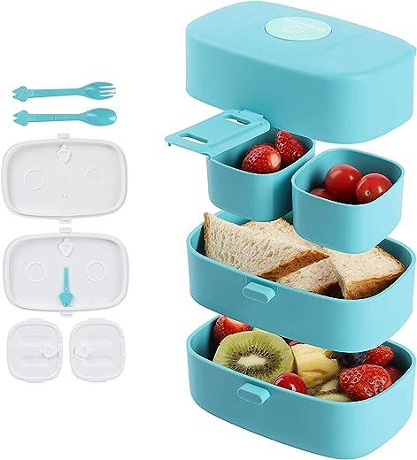 Brotdose Kinder, Bento Box Lunchbox mit 4 Fächern Snackbox aus Lebensmittelechtem Kunststoff Essensbox Tragbar für Kindergarten Schule Büro