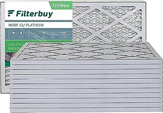 FilterBuy 16x25x1 Air Filter MERV 13, Pleated HVAC AC Furnace Filters (12-Pack, Platinum)