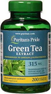 Puritans Pride Green Tea Standardized Extract 315 Mg Capsules, 200 Count