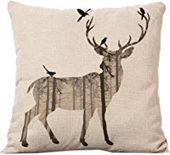 Deer Home Decor Design Throw Pillow Cover Pillow Case Linen for Sofa C12