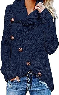 Yidarton Women's Chunky Sweaters Turtle Cowl Neck Asymmetric Hem Wrap Pullover Sweater