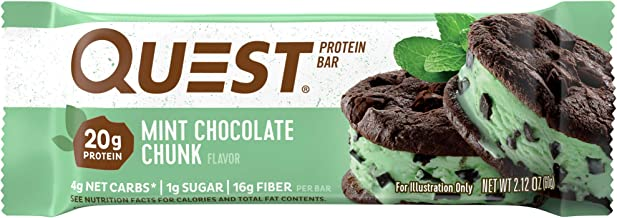 Quest Nutrition Protein Bar, Mint Chocolate Chunk, 20g Protein, 4g Net Carbs, 200 Cals, High Protein Bars, Low Carb Bars, ...
