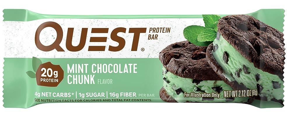 びんダニ不良品クエストニュートリション(Quest Nutrition) プロテインバー ミントチョコレートチャンク Mint Chocolate Chunk Protein 12 Bars [海外直送][並行輸入品]