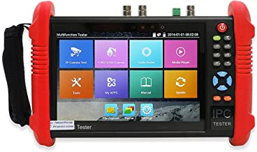 Wsdcam 7 Inch IPS Touch Screen IP Camera Tester Security CCTV Tester CVBS Monitor Analog Tester with SDI/TVI/AHD/CVI/POE/WIFI/4K H.265/HDMI in&Out/RJ45 TDR/Firmware Upgraded 9800ADHS-Plus (Red)