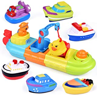 FUN LITTLE TOYS Baby Bath Toys, 7 PCs Toy Boats Include One Big Wind Up Bath Boat and 6 Bath Squirters Toy Boats, Birthday...