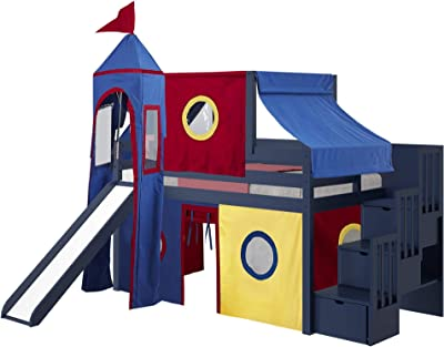 JACKPOT! Castle Low Loft Stairway Bed with Slide Red Yellow & Blue Tent and Tower, Twin, Blue